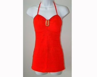 Red 1940's Gantner Glo Swimsuit Bathing Suit 40's M