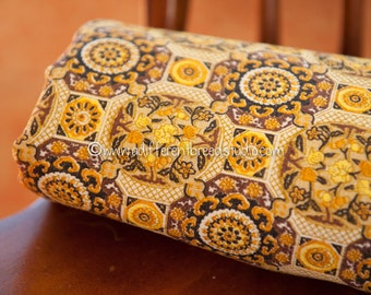 "Mid Century Folk Art  - Vintage Fabric Geometric 50s 60s New Old Stock 35"" wide Light Barkcloth"