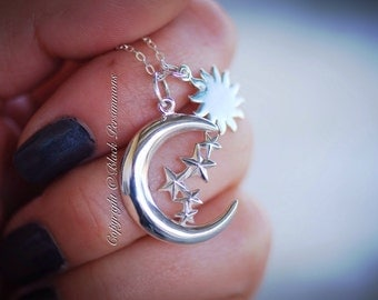 Moon of my Life & My Sun and Stars Necklace No. 1 - Sterling Silver Charm Pendant - Insurance Included