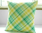 green yellow turquoise cream checks decorative pillow cover,  plaid cushion cover 16 inch