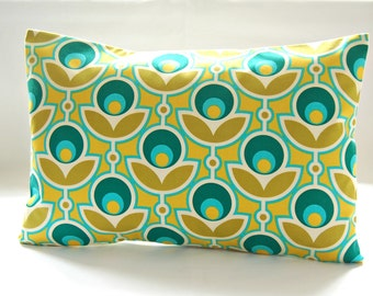 turquoise blue mustard yellow green retro decorative pillow cover,  flowers and leaves lumbar cushion cover 12 x 18 inch