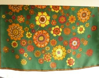 Large vintage ECHO floral silk scarf, Las Flores, designer silk scarf, 1960 mod scarf, Echo silk scarf