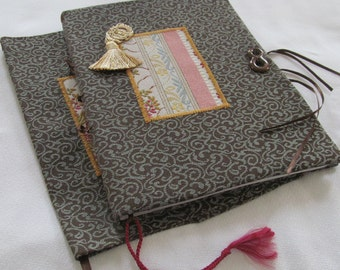 Pink and Aqua Book Cover and Journal Set Rose Floral Stripe and Aqua Jacquard Fabric