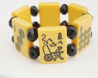 MahJongg Tile Bracelet with Black Crystals / Picture Tiles / Pagoda / Farmer / Asian Characters / Orange / Apricot / Black / Fun / Gift / SM