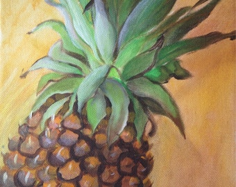 Pineapple in orange background
