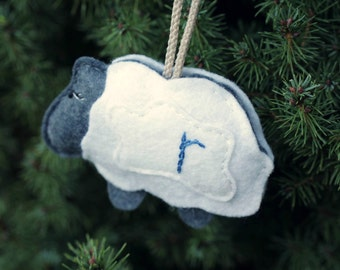Personalized Baby Ornament. Sheep Ornament First Christmas. Felt Christmas Ornament.