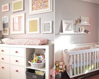 Bumper, Crib Skirt, 2 Sheets, Changing Pad Cover - 5 Pc. Custom Crib Bedding Set in fabrics YOU CHOOSE