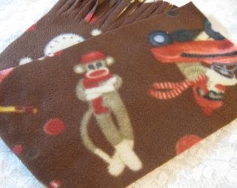 Five Buck Fleece Scarf Blow Out  at SylMarCreations! * Sock Monkey Winter Fleece Scarf