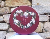 Hand Painted Papier-mache Box with Heart-Shaped Wreath and Daisies