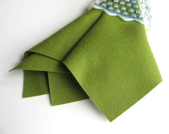 Avocado Wool Felt, 18 Inch Square OR 6 x 18 Inch, Merino Wool Felt, Sewing Supply,  Green Felt, DIY Supply, Felt Yardage