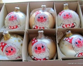 Gorgeous Hand Painted Rare Vintage INARCO Inarco Mercury Glass Santa Christmas Ornaments Gold, Silver, and White Set of 6
