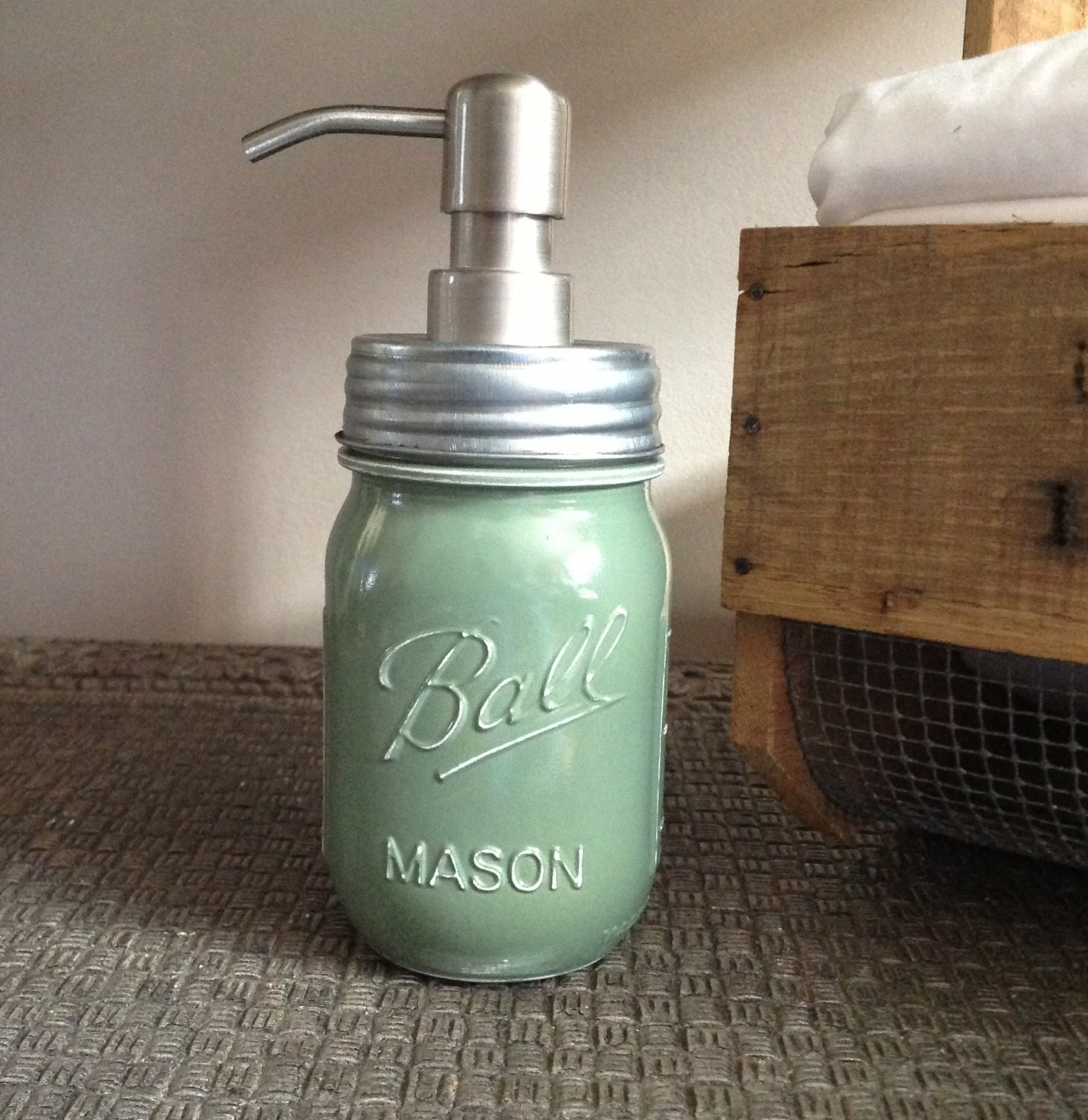 Items similar to mason jar sage green soap dispenser for Sage bathroom accessories