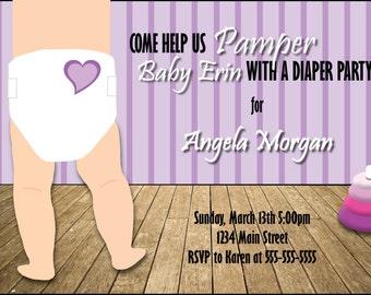 Custom Purple Diaper Shower Invitation