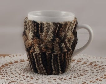 Limited Edition Color Brown Camouflage Hand Knit Coffee Mug Cozy Coaster