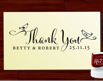 THANK YOU modern design Calligraphy Handwriting Script font self inking stamp -style 6062  - custom wedding stationary