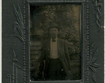 Antique Tintype Photo Man In Hat Outdoors Vintage Tin Type Photograph In Embossed Cardboard Frame