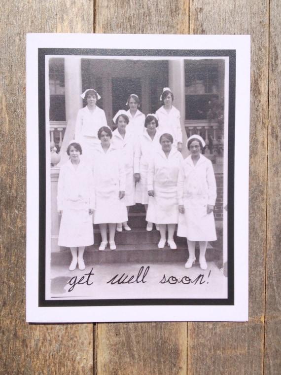 Greeting card # 36, Get Well card, vintage nurses