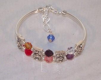 Swarovski Crystal Jewelry -  Mothers or Grandmothers Bracelet with Mother or Grandmother Crystal Added