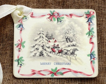 Merry Christmas Horse Sleigh Gift Tags or Hang Tags #27