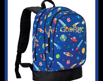 Monogram Backpack and Lunch Bag Set - Wildkin - Personalized - Out of This World - Back to School Elementary
