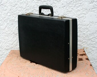 Black Hard-Shell Briefcase -  with Black and White Great Hounds Tooth Plaid Interior, Original Key