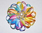 Satin Rainbow Sunburst Ribbon Double Flower Loop Hair Clip or Brooch Rhinestone Pearl Button Daisy Ombre Pastel Easter