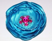 Turquoise Blue Satin Flower Singed Hot Pink Rhinestone Button Hair Clip Brooch Bobby Pin or Magnet