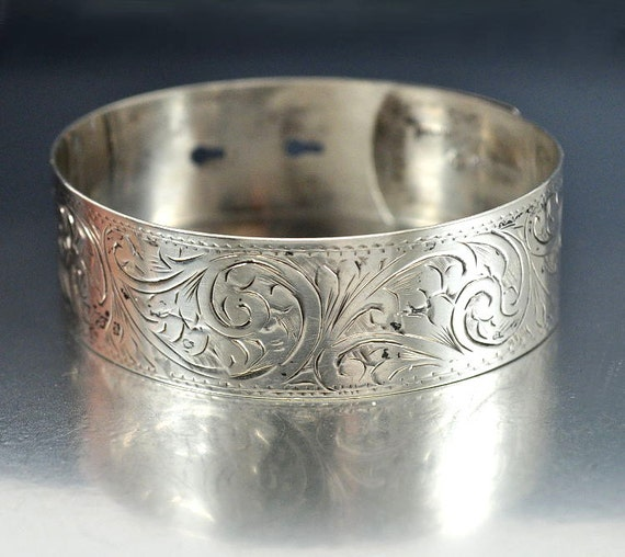 Victorian Engraved Sterling Silver Bangle Bracelet English