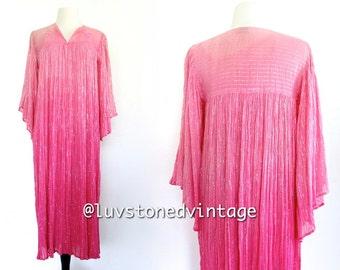 70s Vintage Pink Ombre India Ethnic Boho Hippie Cotton Gauze Metallic Lurex Indian Gypsy Festival Maxi Dress . SML . D039 . 755.2.28.14