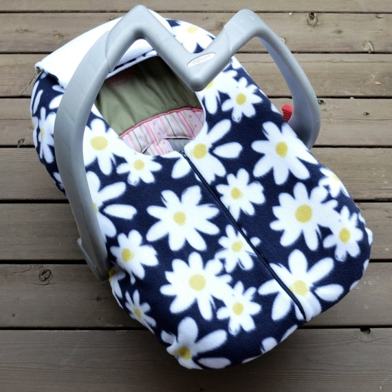 winter car seat cover for baby cheery daisies navy by sophiemarie. Black Bedroom Furniture Sets. Home Design Ideas