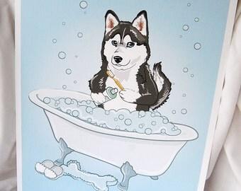Bathtime Husky - Eco-Friendly 8x10 Print