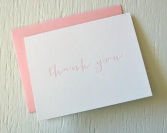 Letterpress folded thank you cards - set of 12 - light pink handwriting font