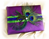 Peacock wedding guest book, purple plum green and peacock blue wedding colors