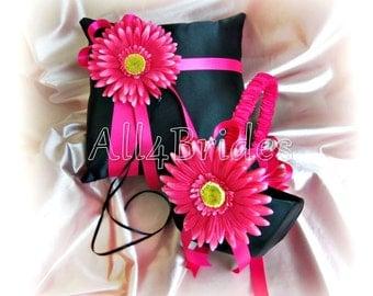 Gerber Daisy Weddings Ring Pillow Basket - Black Hot Pink Spring Wedding Flower Girl Basket  Ring Bearer Pillow, Wedding Ceremony Decor