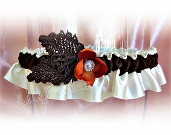 Fall wedding bridal leg garter, burnt orange and chocolate brown fall leaves leg garter.