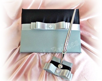 Black and grey wedding guest book and pen set