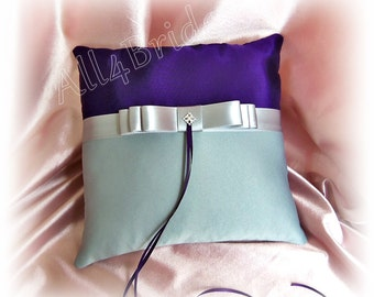 Purple and grey wedding ring bearer pillow, wedding ring cushion, ceremony accessories