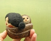 Needle Felted Wool Inuit Mama Wearing her Baby  Made to Order