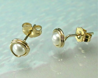 White Pearl Gold Stud Earrings, Tiny Freshwater Pearl 14K Gold-filled Posts, Modern, June Birthstone / gift under 50