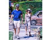 Dog Walker Print from  Painting, Walking Their Dog, Fine Art 8x10 By Gwen Meyerson