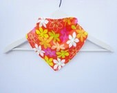 Hawaiian Bandana Kerchief Bib Diaper Bag Accessory Tropical Orange Summer Baby Shower Gift for New Mom