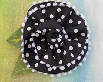 SUMMER FLOWER POWER Black Polka Dot Ribbon Rose Pin....