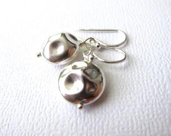 Hammered Disc Earrings, Sterling Silver Earrings, Kidney Ear wires, Simple Earrings, Drop Earrings, Round Earrings, Modern Jewelry