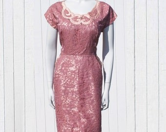 Vintage 1950's Illusion Lace Cocktail Dress * Mauve Pink Full Figure Sized Beauty * Wiggle Cocktail Dress * Pink Satin Beaded*