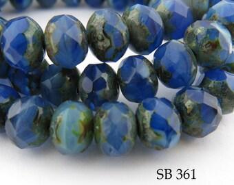 8mm Czech Glass Blue Beads Faceted Rondelle  (SB 361) 12 pcs BlueEchoBeads