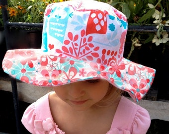 SALE - Super cute girl's sun hat with wide brim, owls and cupcakes, for toddlers, pink, turquoise and red, ships now