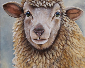 Ewe An original sheep painting art Dorset Cotswold Corridale