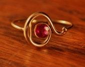 Vintage 10K Gold and Garnet Stick Pin Turned Ring