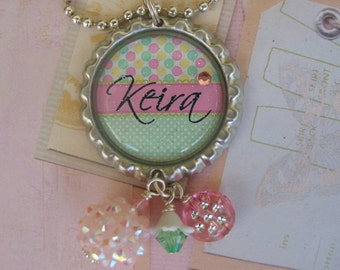 Personalized Bottle cap necklace with polka dots for girls