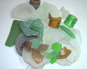 1 pound of ROUGH SEA GLASS Mystic bag / Assortment for crafts / Larger selection